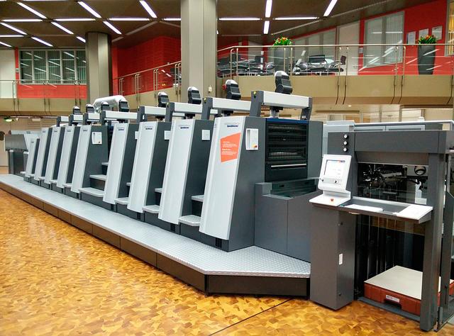 печатная, машина, книга, печатание